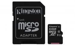 KINGSTON - 64GB MICROSDXC CANVAS SELECT 80R CL10 UHS - I CARD +