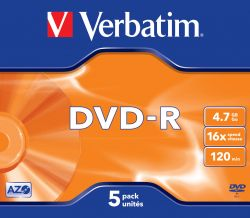 VERBATIM - DVD -R 4.7GB 16X PACK 5 ADVANCED AZO