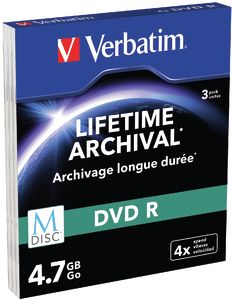 VERBATIM - M-DISC DVD R 4.7GB 4X CAIXA SLIM PAC