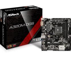 ASROCK - BOARD A320M-DGS, AMD, AM4, A320, 2DDR4, 32GB, DVI, GBLAN, 4SATA3, 6USB3.1, MATX