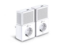 TP-LINK - AV1000 Passthrough PowerLine KIT Broadcom 1 Gigabit Ports 1000Mbps PowerLine HomePlug AV2 Green PowerLine Plug and Play Pair Button New PLC Utility Twin Pack