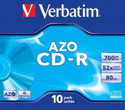 VERBATIM - CD -R 700MB 52X JEWEL CASE 10 SUPER AZO