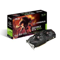 ASUS - CERBERUS-GTX1070TI-A8G - GF GTX1070TI, 8GB GDDR5, 1X Native Dual-link DVI-D (HDCP support), 2*Native (2.0), PCI-E 3.0