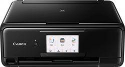 CANON - PIXMA TS8150 Preta - Impressão sem fios, Cópia, Digitalização, Ligação à cloud, Resolução de impressão: Até 4800 2 x 1200 dpi, 6 tinteiros individuais, Ecrã tátil de 10,8 cm, Alimentador de papel duplo, Bluetooth, Impressão Direta em Disco