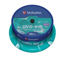 VERBATIM - DVD -RW 4.7GB 4X SPINDLE 25 ADVANCED SERL