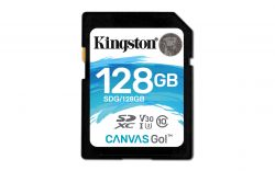 KINGSTON - Canvas Go! - Cartão de memória flash - 128 GB - Video Class V30 / UHS-I U3 / Class10 - SDXC UHS-I