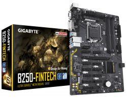 GIGABYTE - PLACA GIGABYTE B250-FINTECH, INTEL, 1151 (K), B250, 4DDR4, 64GB, VGA+DVI, 12PCIEX1+1PCIEX16, GBLAN, 6SATA3, 6USB3.1 (BTC EDITION)