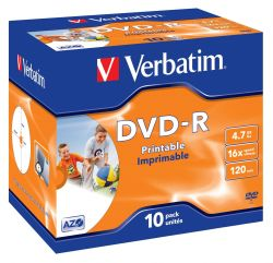 VERBATIM - DVD -R 4.7GB 16X JEWEL CASE 10 ADVANCED AZO IMPRIMIVEL INKJET