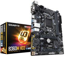 GIGABYTE - PLACA B360M HD3, INTEL, 1151, B360, 2DDR4, 32GB, VGA+DVI+HDMI, GBLAN, 6SATA3, 1XM.2, 5USB3.1, MATX