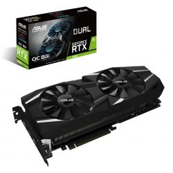 ASUS - DUAL-RTX2080-O8G - NVIDIA GeForce RTX 2080, Memória: 8G GDDR6, Interface de Memória: 256-bits, 1 x Native USB Type-c output, 1x Native HDMI 2.0b output, 3x Native Display Port 1.4