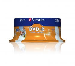 VERBATIM - DVD -R 4.7GB 16X SPINDLE 25 IMPRIMIVEL INKJET SUPERFÍCIE BRANCA 120 MINUTOS ADVANCED AZO