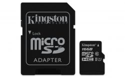 KINGSTON - 16GB MICROSDHC CANVAS SELECT 80R CL10 UHS - I CARD +