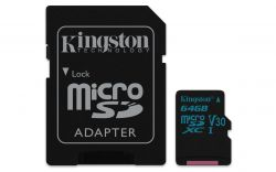 KINGSTON - Canvas Go! - Cartão de memória flash (adaptador microSDXC para SD Incluído) - 64 GB - Video Class V30 / UHS-I U3 / Class10 - microSDXC UHS-I