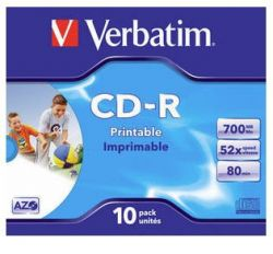 VERBATIM - CD -R 700MB 52X JEWEL CASE 10 SUPER AZO 80 MINUTOS IMPRIMIVEL INKJET NEUTRO