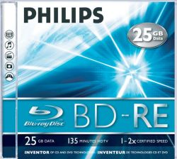 PHILIPS - Blu-Ray ReWritable 25GB 2x Jewel Case (5 unidades)