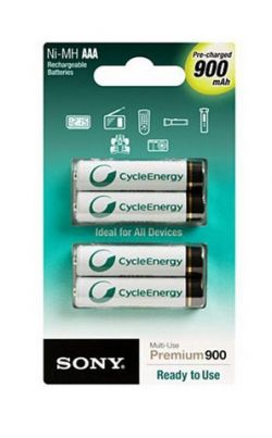 SONY - RME ENERGY - NI-MH AAA 900MAH PRE-CHARGED BATT 4PCK. 1000X RECHARGEABLE