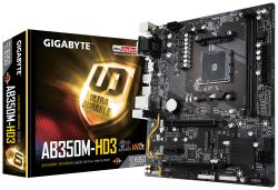 GIGABYTE - GA-AB350M-HD3 AM4 B350 MATX CPNT SND+GLN+U3.1 M2 SATA 6GB/S DDR4 IN