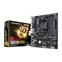 GIGABYTE - AX370M-DS3H, AMD, AM4, X370, 4DDR4, 64GB, DVI+HDMI, GBLAN, 4SATA3, 1XM.2, 6USB3.1, MATX