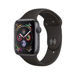 APPLE - Watch Series4 GPS: 44mm Space Grey Aluminium Case with Black Sport Band