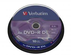 VERBATIM - DVD +R DUPLA FACE 8.5GB 8X SPINDLE 10 ADVANCED AZO