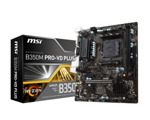 MSI - B350M PRO-VD PLUS AM4 B350 2DDR4 32GB VGA+DVI GBLAN 4SATA3 6USB3.1 MATX