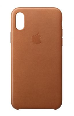 APPLE - iPhone X Leather Case - Saddle Brown
