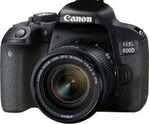CANON - EOS 800D 18-55 IS STM - 24.2 MP Sensor APS-C, 45 Pontos AF tipo cruzado, Dual Pixel CMOS AF, Wi-Fi, NFC e Bluetooth, Visor Ótico, Vídeo Full HD a 60p, Disparo contínuo de 6 fps, Ecrã tátil de ângulo variável