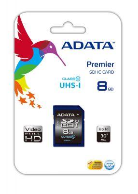 ADATA - Premier Cartão 8 GB UHS Class 1 / Class10 SDHC UHS-I - ASDH8GUICL10-R