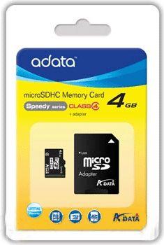 ADATA - MICROSD A-DATA 4GB + ADAPTADOR SD (CLASSE 4)