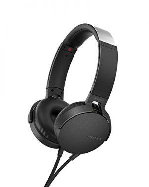 SONY - MDR-XB550APB - Auscultador EXTRA BASS com comando de controlo e microfone incorporado. Novo design com estrutura metálica e almofadas a combinar com a cor do auscultador. Cor Preta.