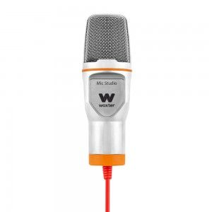 WOXTER - MIC-STUDIO STUDIO MICROPHONE C/ Fios Laranja, Côr Branco
