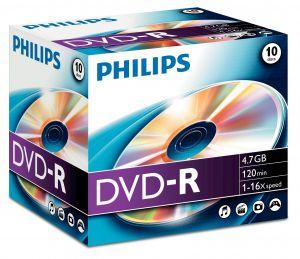 PHILIPS - DVD-R 4.7 GB 16x Pack 10 Jewel Case