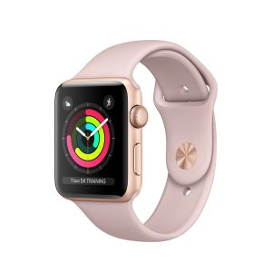 APPLE - Apple Watch Series 3 GPS: 42mm Gold Aluminium Case with Pink Sand Sport Band