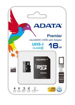 ADATA - Premier UHS-I Cartão (adaptador microSDHC a SD Incluído) 16 GB UHS Class 1 / Class10 microSDHC UHS-I - AUSDH16GUICL10-RA1