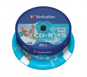 VERBATIM - CD -R 700MB 52X SPINDLE 25 IMPRIMIVEL INKJET SUPER AZO