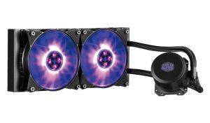 COOLER MASTER - MasterLiquid ML240L RGB, 240mm Radiator, RGB Fan & Water Block, Included Wired RGB Controller & Splitter