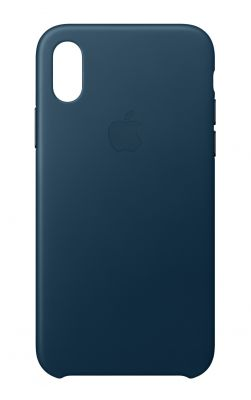 APPLE - iPhone X Leather Case - Cosmos Blue