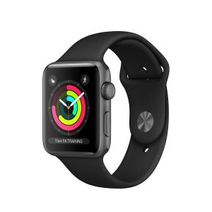 APPLE - Apple Watch Series 3 GPS: 42mm Space Grey Aluminium Case with Black Sport Band