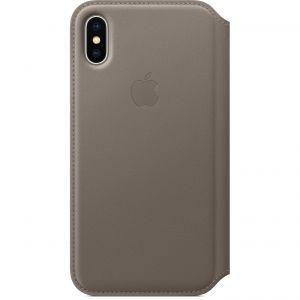 APPLE - iPhone X Leather Folio - Taupe