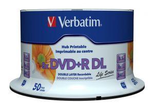 VERBATIM - OPTICAL MEDIA - DVD+R 8.5GB 8X DOUBLE LAYER SUPL WIDE PRINTABLE SURF 50ER SPIN