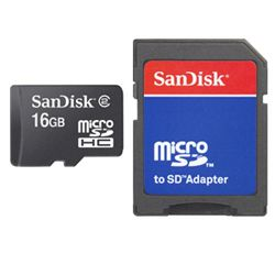 SANDISK - microSDHC 16GB with microSD to SD Adapter