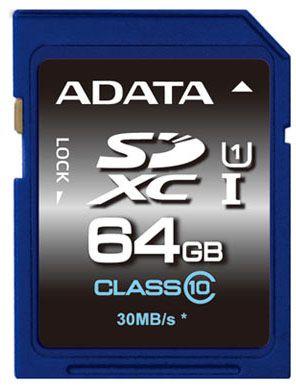 ADATA - Premier UHS-I Cartão 64 GB UHS Class 1 / Class10 SDXC UHS-I - ASDX64GUICL10-R