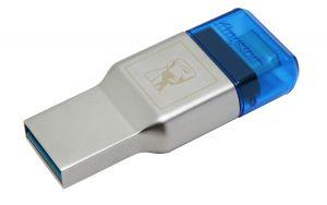 Kingston Technology MobileLite Duo 3C USB 3.0 (3.1 Gen 1) Type-A/Type-C Azul, Prateado leitor de cartões
