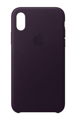 APPLE - iPhone X Leather Case - Dark Aubergine