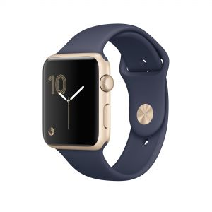 APPLE - Watch Series 1: 42mm Gold Aluminium Case with Midnight Blue Sport Band