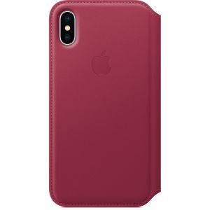 APPLE - iPhone X Leather Folio - Berry