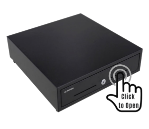 SITTEN - HS-410T2 - gaveta push: abre empurrando para dentro: tipo TIC TAC - Gaveta horizontal metálica 41x41:5x10cm (LxPxA): preta. Sem RJ11.