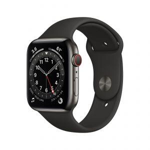 APPLE - Watch Series 6 GPS + Cellular 44mm em Aco Inoxidavel Grafite com Bracelete Desportiva Preta