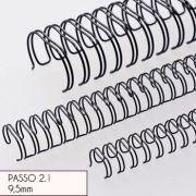 RENZ - Argolas Metalicas Encadernar Passo 2:1 9:5mm Cx100 Preto