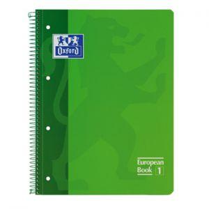 OXFORD - Caderno Espiral Oxford European Book: Capa Extra Dura Cartao: A4 Pautado: 90gr: 80 Folhas: Verde (min. 5 un.)